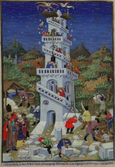 ספר השעות של בדפורד (Add. 18850, f.17v): מגדל בבל